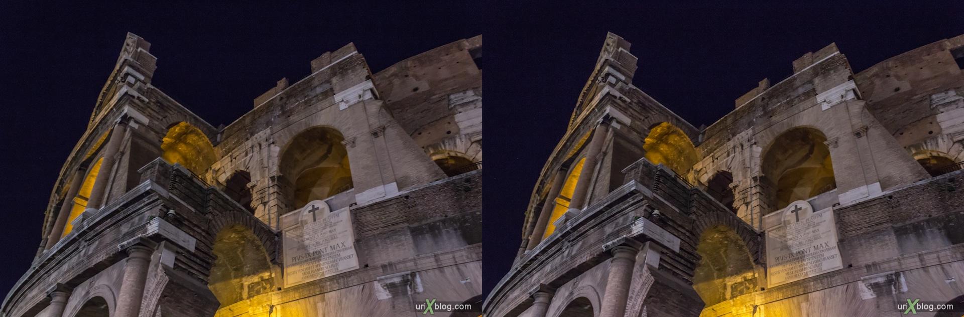 2012, Колизей, Рим, Италия, ночь, 3D, перекрёстные стереопары, стерео, стереопара, стереопары