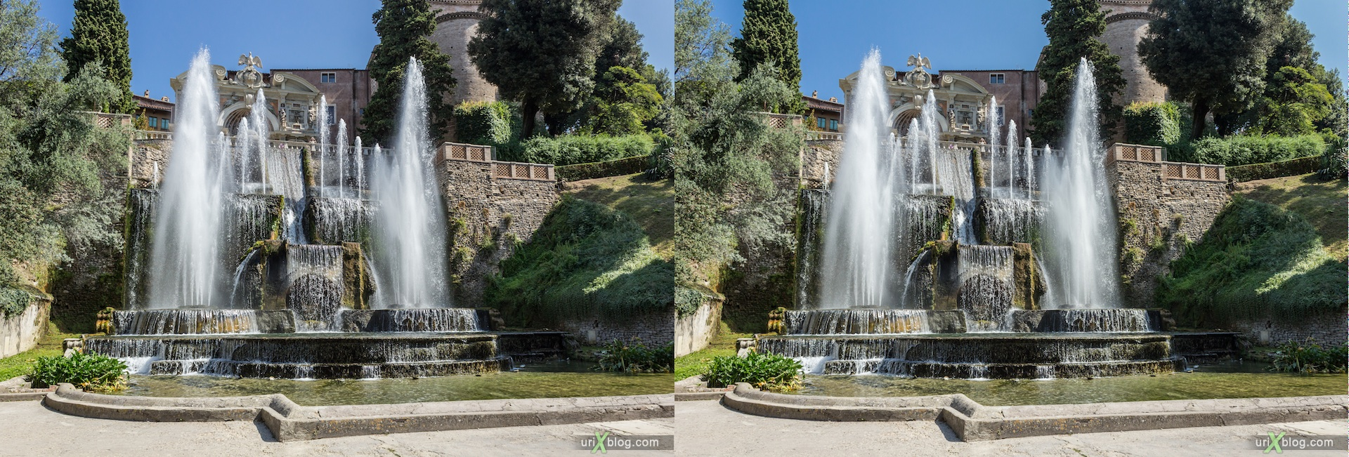 2012, Fountain of Neptune, villa D'Este, Italy, Tivoli, Rome, 3D, stereo pair, cross-eyed, crossview, cross view stereo pair