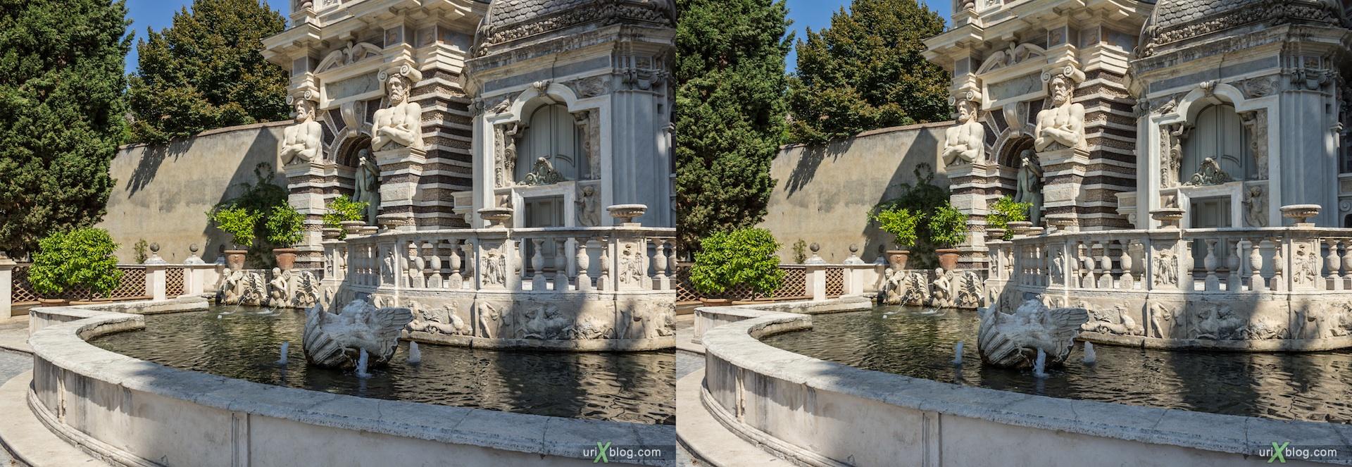 2012, Organ Fountain, Fontana dell'Organo, villa D'Este, Italy, Tivoli, Rome, 3D, stereo pair, cross-eyed, crossview, cross view stereo pair