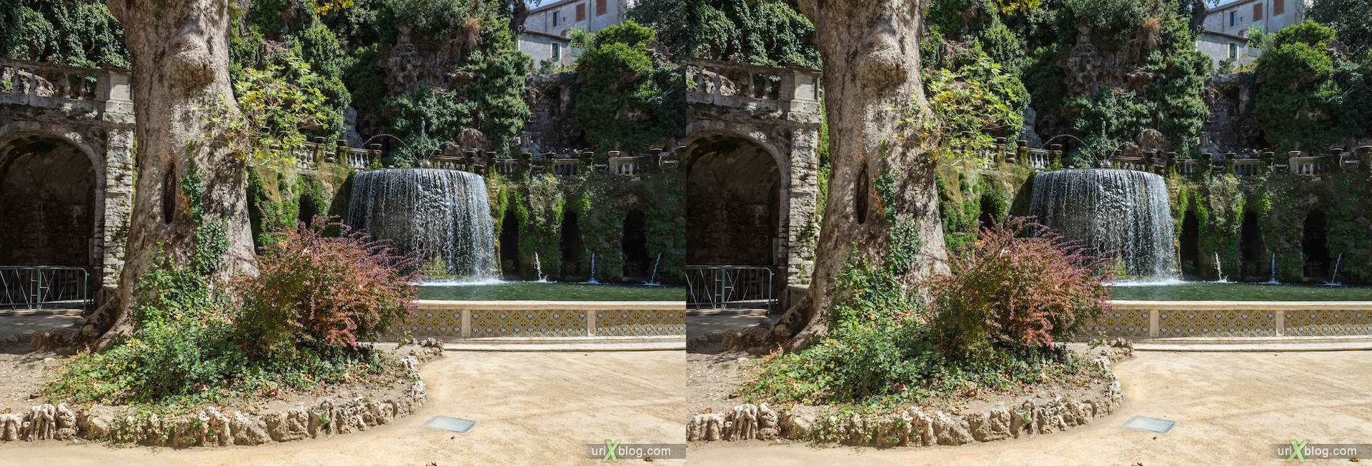 2012, Oval fountain, Fontana dell'Ovato, villa D'Este, Italy, Tivoli, Rome, 3D, stereo pair, cross-eyed, crossview, cross view stereo pair