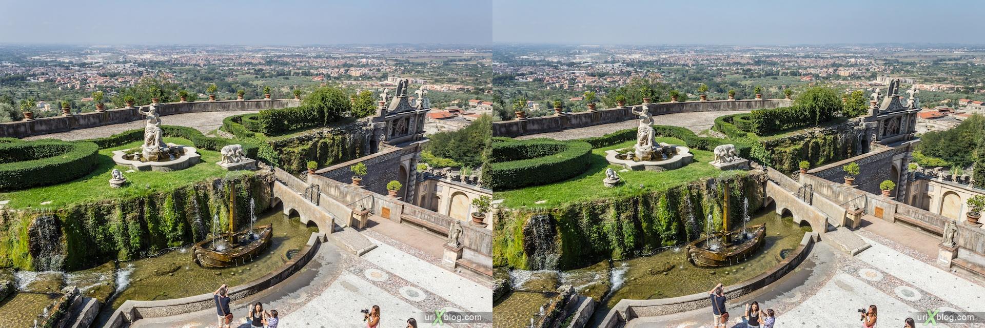2012, Fontana della Rometta, villa D'Este, Italy, Tivoli, Rome, 3D, stereo pair, cross-eyed, crossview, cross view stereo pair