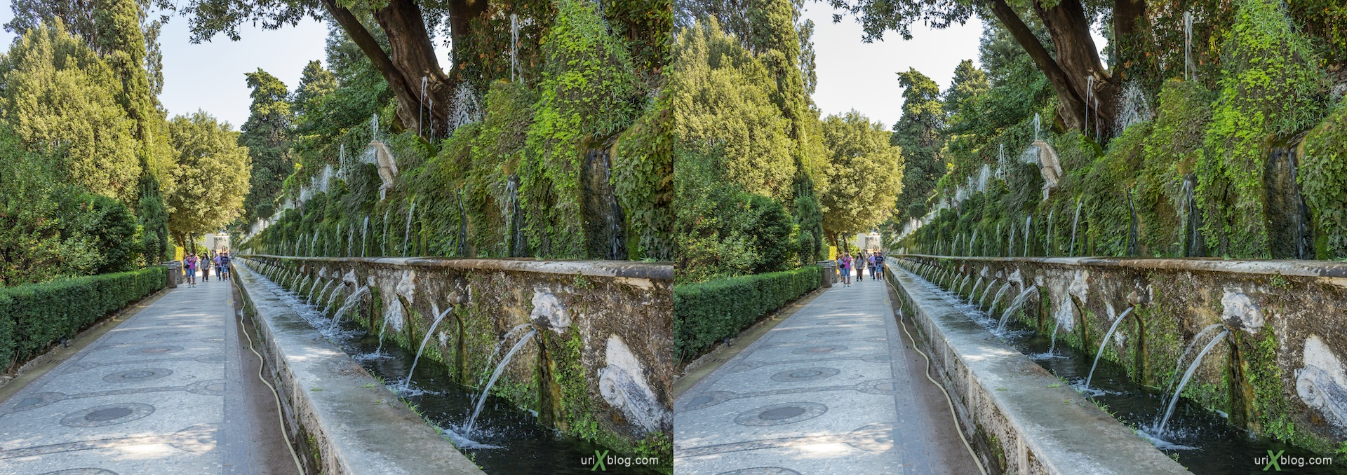 2012, Avenue of the Hundred Fountains, Viale delle Cento Fontane, villa D'Este, Italy, Tivoli, Rome, 3D, stereo pair, cross-eyed, crossview, cross view stereo pair