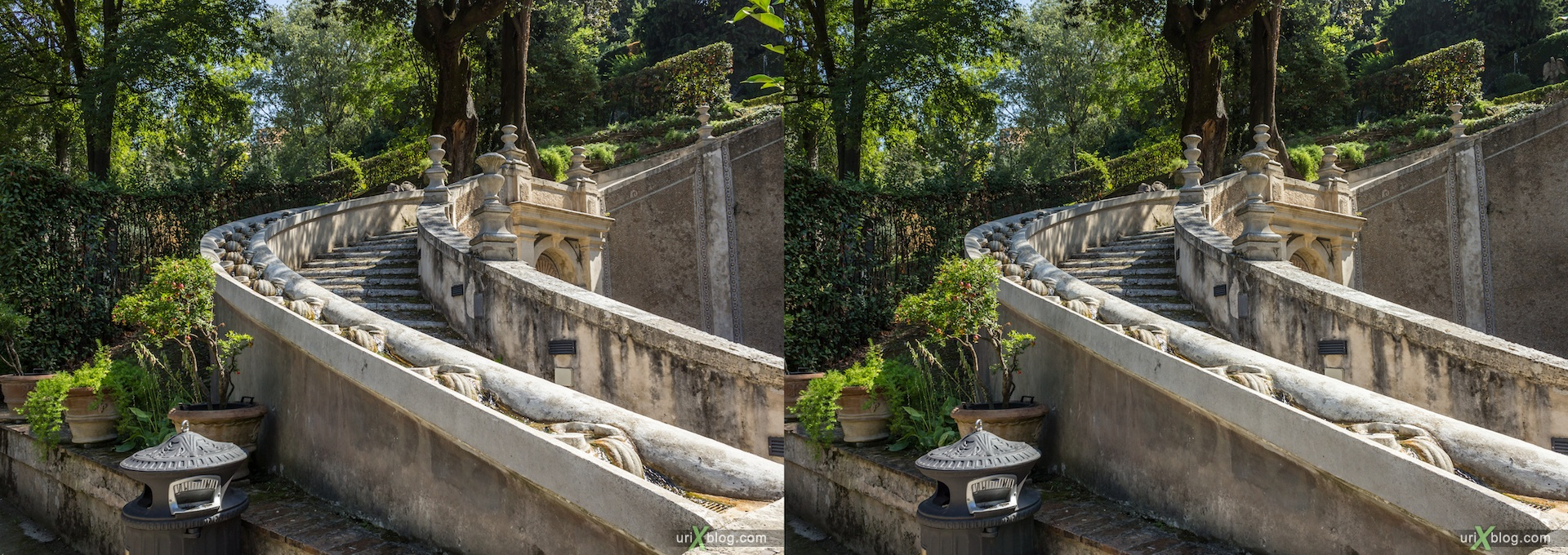 2012, stairs, Fontana dei Draghi, villa D'Este, Italy, Tivoli, Rome, 3D, stereo pair, cross-eyed, crossview, cross view stereo pair