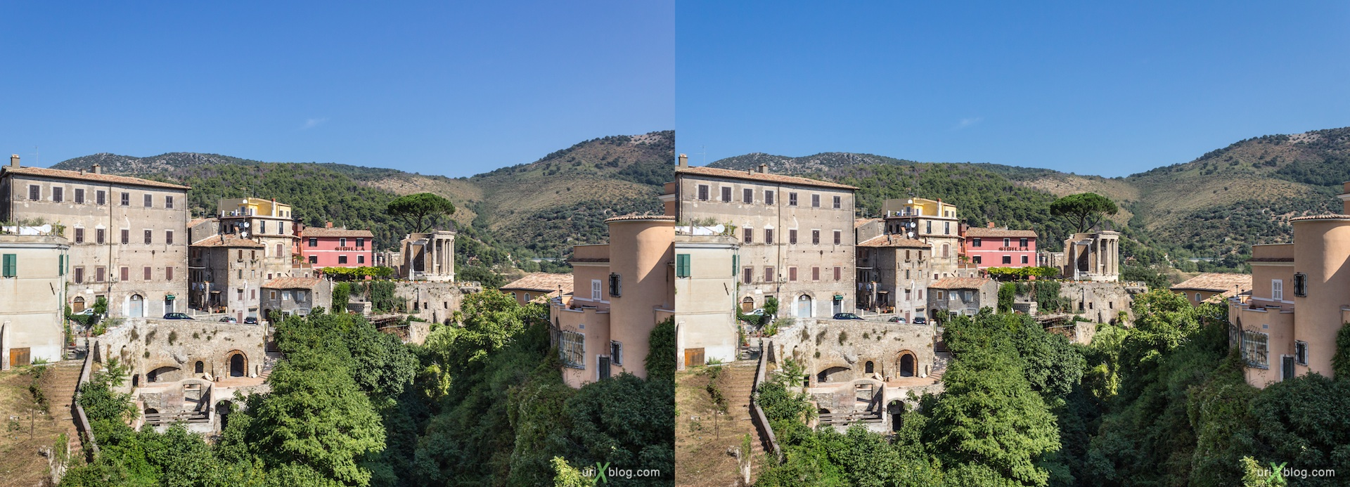 2012, Tivoli, Italy, villa Gregoriana, 3D, stereo pair, cross-eyed, crossview