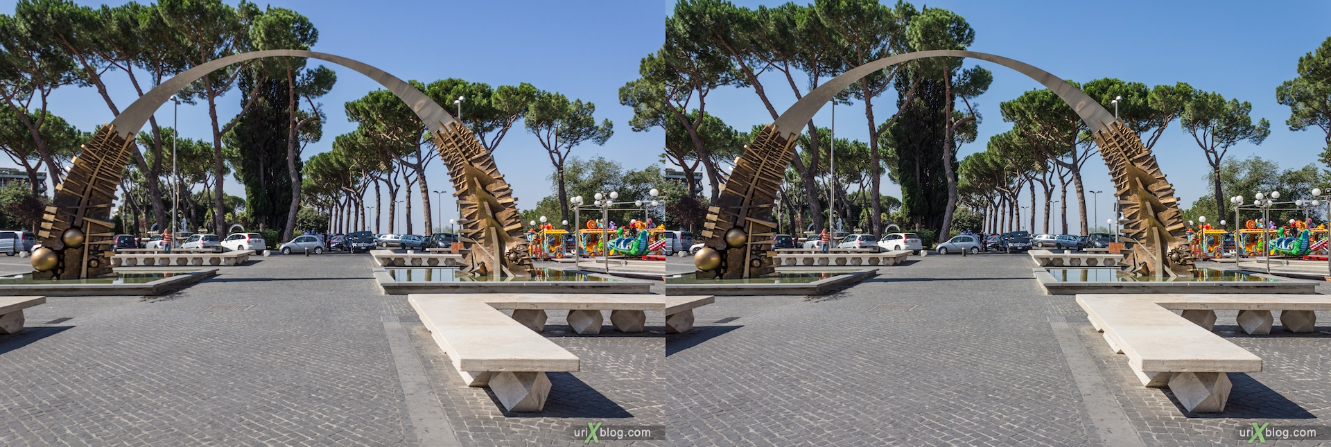 2012, square, arch, Tivoli, Italy, 3D, stereo pair, cross-eyed, crossview
