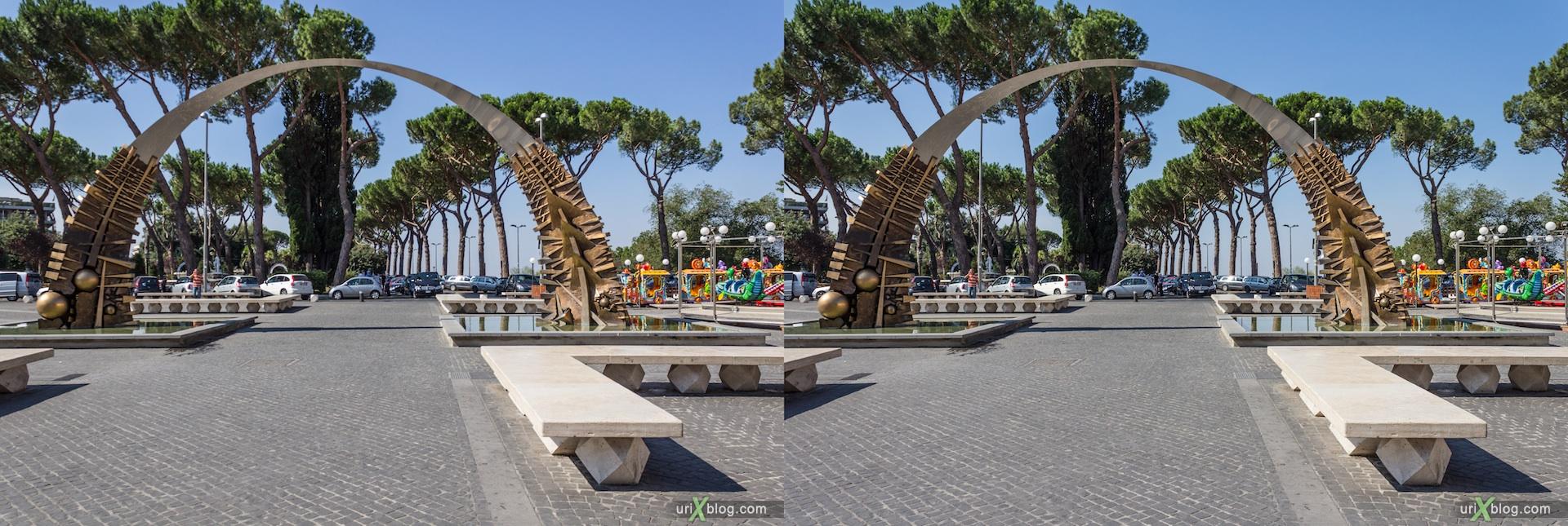 2012, арка, площадь, Тиволи, Италия, square, arch, Tivoli, Italy, 3D, stereo pair, cross-eyed, crossview, стерео, стереопара