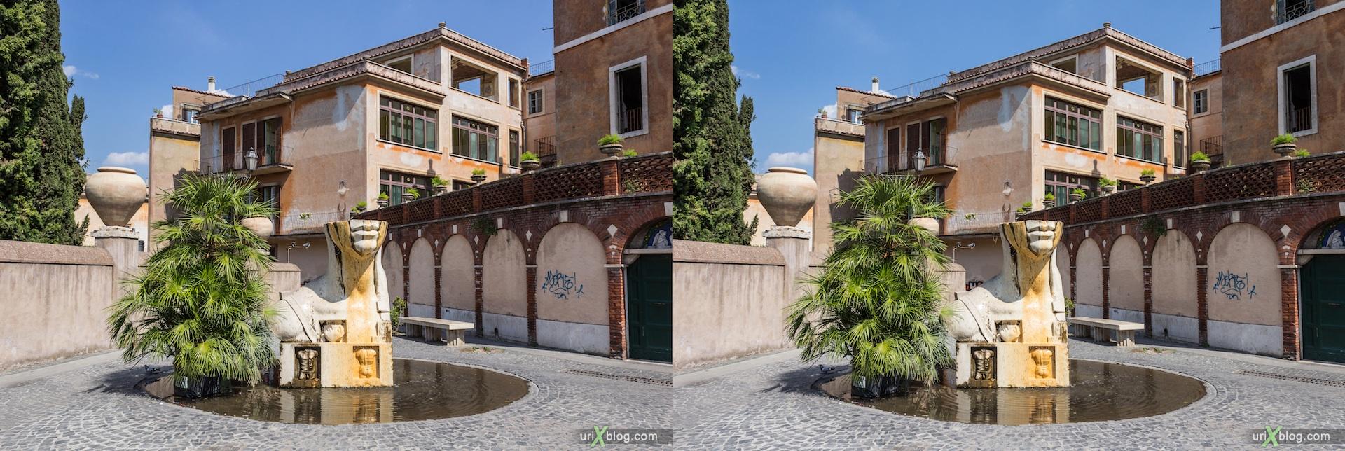 2012, villa D'Este, Tivoli, Italy, fountain, 3D, stereo pair, cross-eyed, crossview