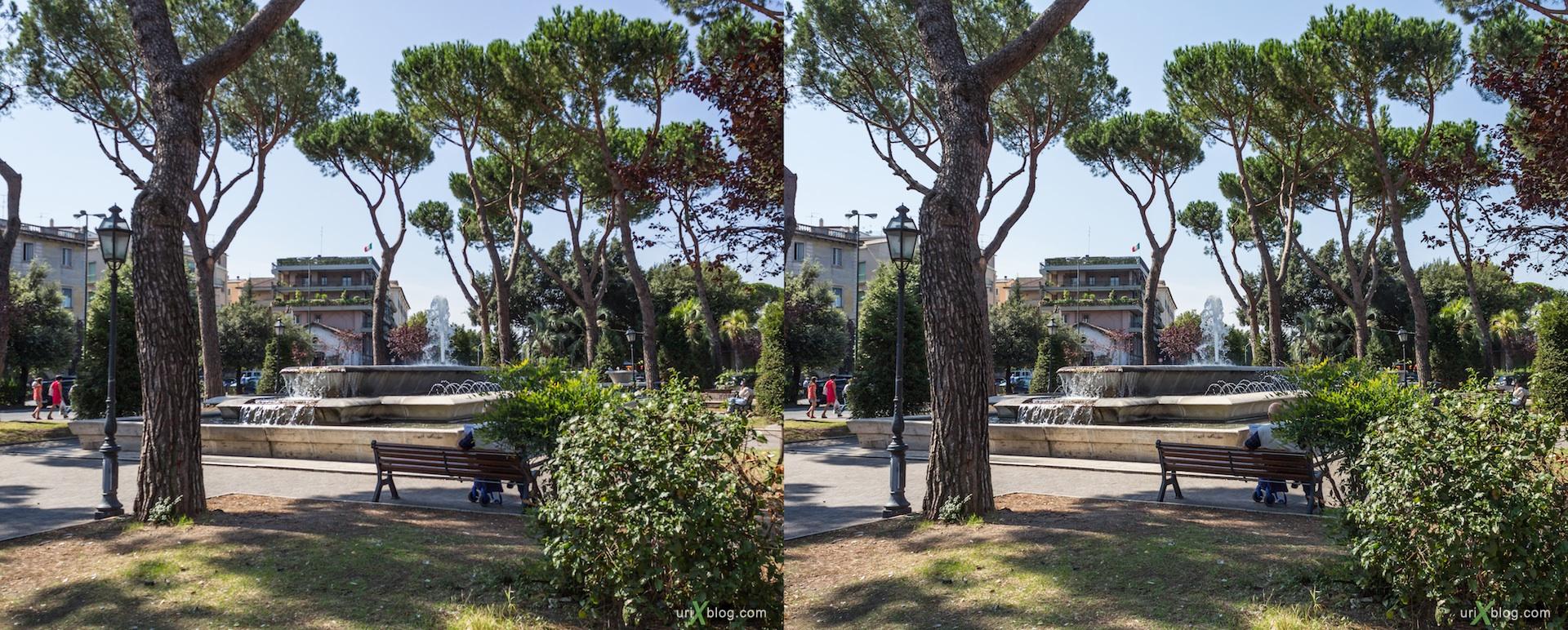 2012, фонтан, парк, Тиволи, Италия, fountain, park, Tivoli, Italy, 3D, stereo pair, cross-eyed, crossview, стерео, стереопара