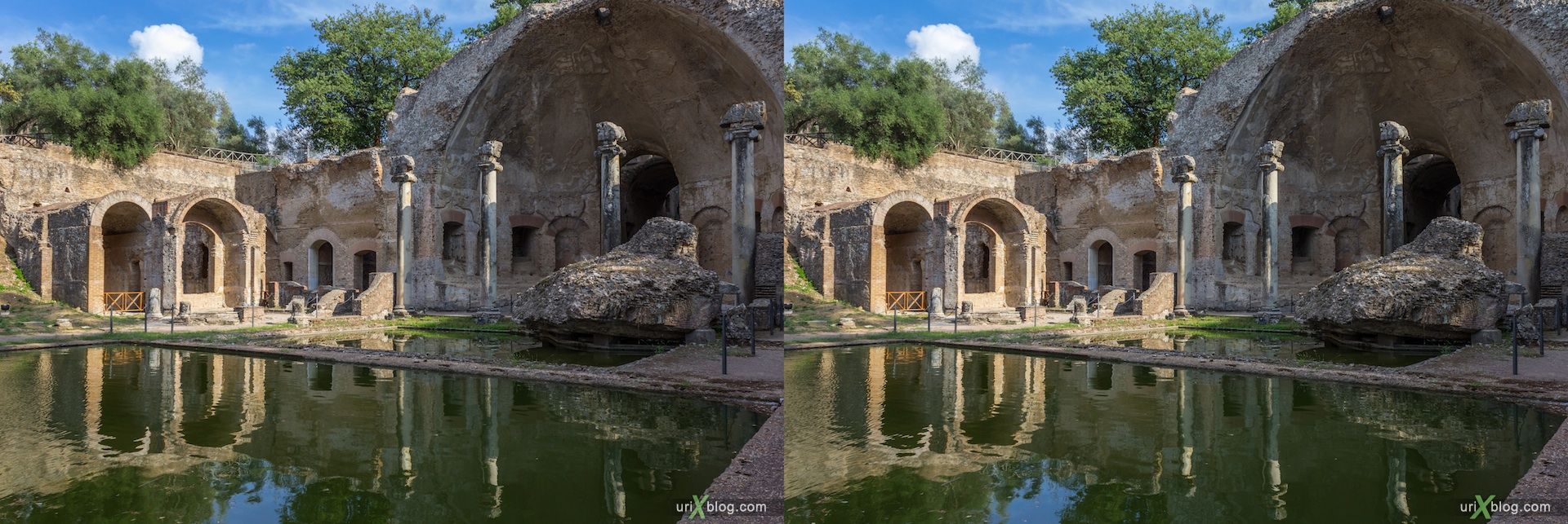 2012, Canopo, Villa Adriana, Italy, Tivoli, Ancient Rome, 3D, stereo pair, cross-eyed, crossview, cross view stereo pair