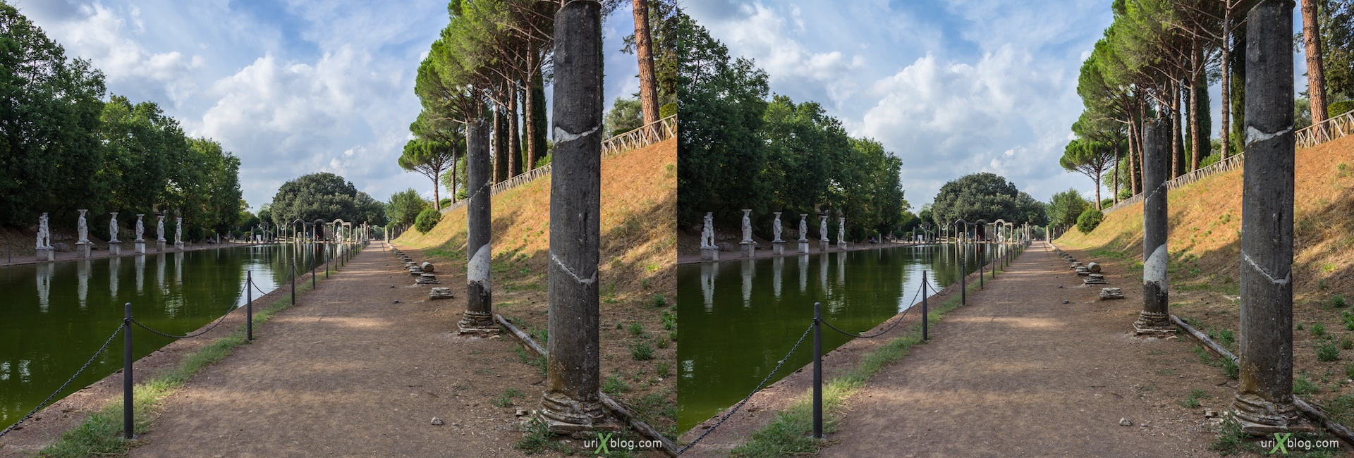 2012, Canopo, Villa Adriana, Italy, Tivoli, Ancient Rome, 3D, stereo pair, cross-eyed, crossview, cross view stereo pair