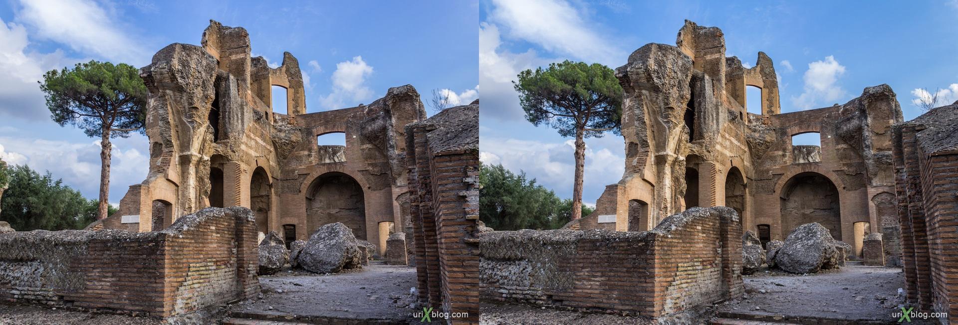 2012, Villa Adriana, Italy, Tivoli, Ancient Rome, 3D, stereo pair, cross-eyed, crossview, cross view stereo pair