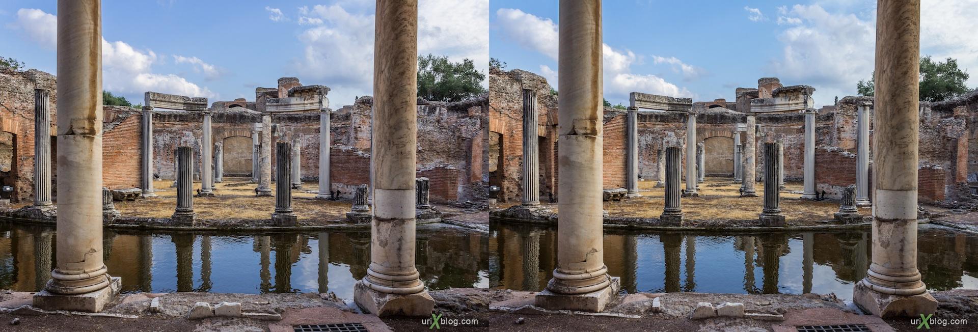 2012, Teatro Marittimo, Villa Adriana, Italy, Tivoli, Ancient Rome, 3D, stereo pair, cross-eyed, crossview, cross view stereo pair