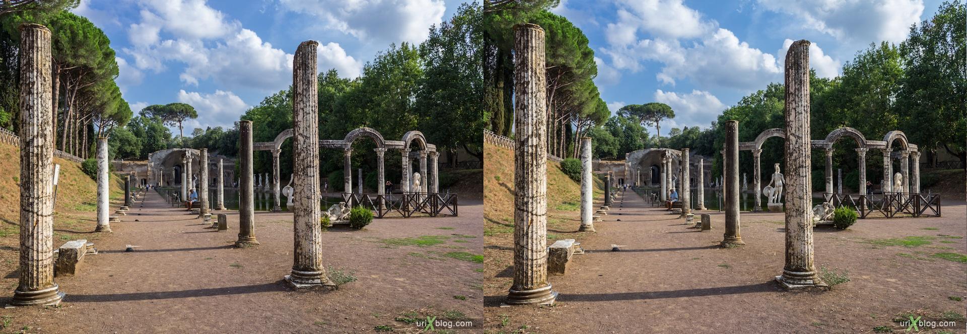 2012, Канопа, Вилла Адриана, Тиволи, древний Рим, Италия, 3D, перекрёстные стереопары, стерео, стереопара, стереопары