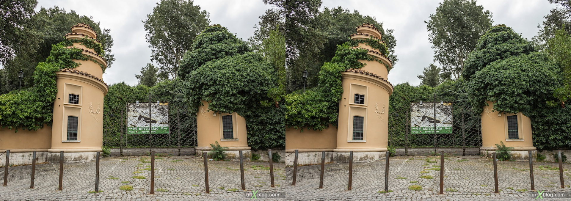 2012, park villa Borghese, Rome, Italy, 3D, stereo pair, cross-eyed, crossview, cross view stereo pair