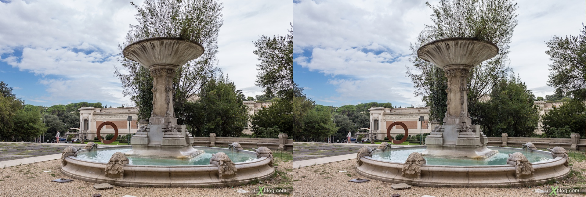 2012, fountain, park villa Borghese, Rome, Italy, 3D, stereo pair, cross-eyed, crossview, cross view stereo pair