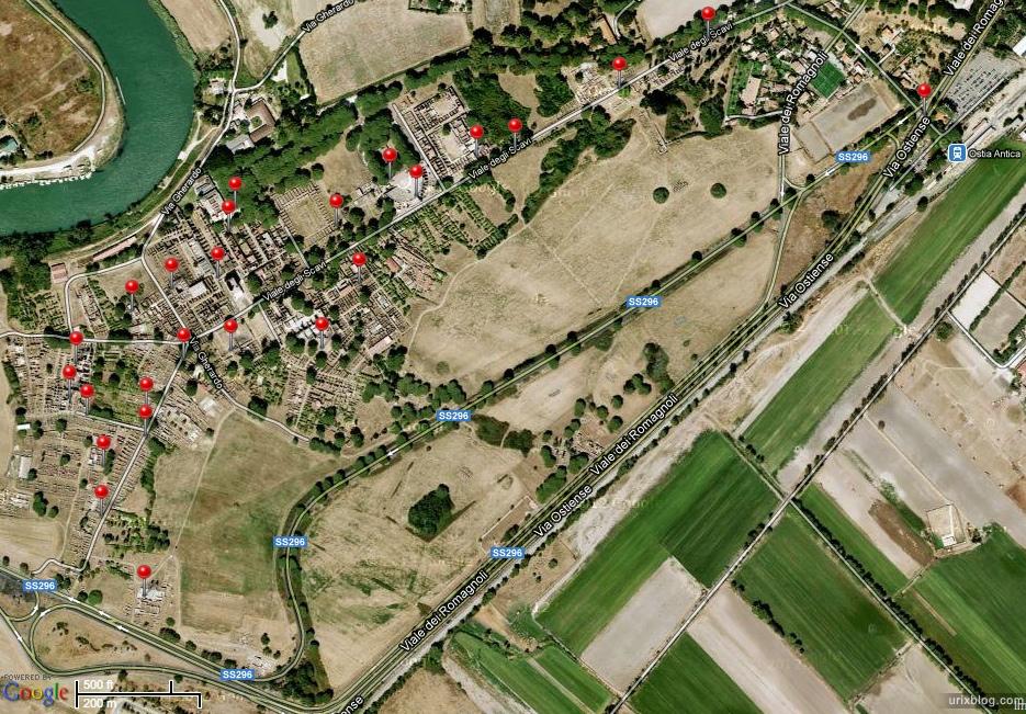 2012, map, Ostia Antica, Rome, Italy, ancient rome, city