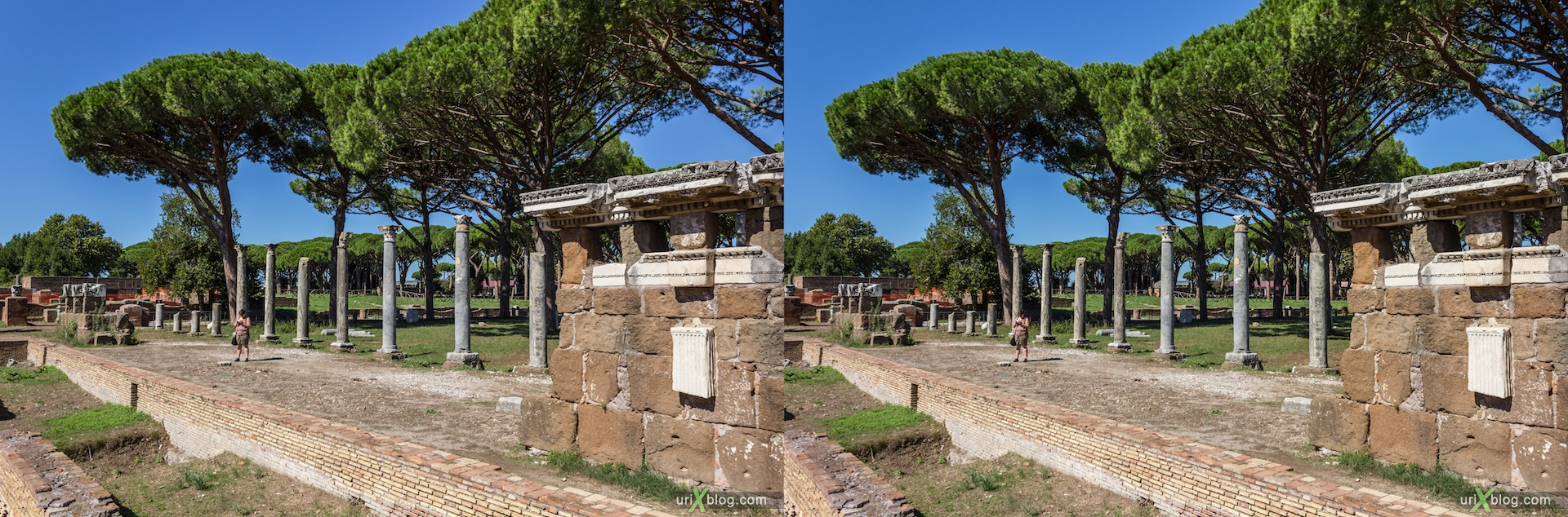 2012, Roman theater, Ostia Antica, Rome, Italy, ancient rome, city, 3D, stereo pair, cross-eyed, crossview, cross view stereo pair
