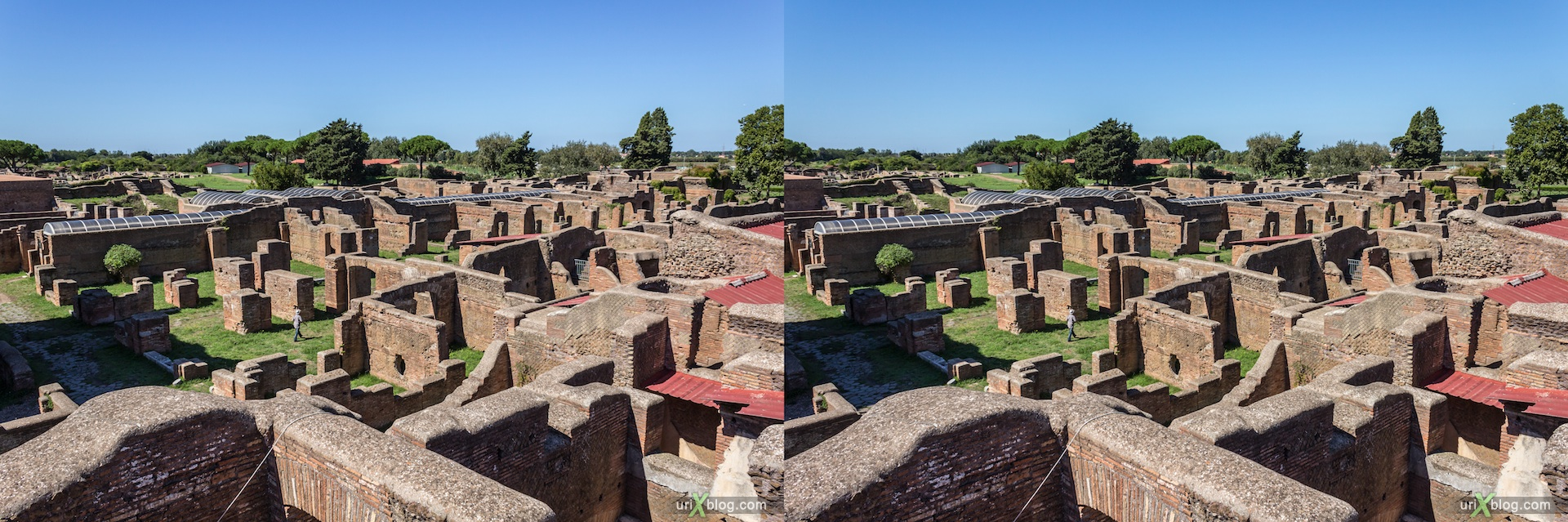 2012, Ostia Antica, Rome, Italy, ancient rome, city, 3D, stereo pair, cross-eyed, crossview, cross view stereo pair