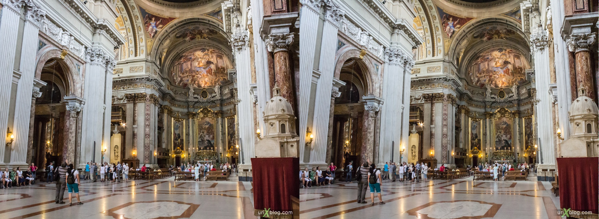 2012, church of Sant'Ignazio, Rome, Italy, cathedral, monastery, Christianity, Catholicism, 3D, stereo pair, cross-eyed, crossview, cross view stereo pair