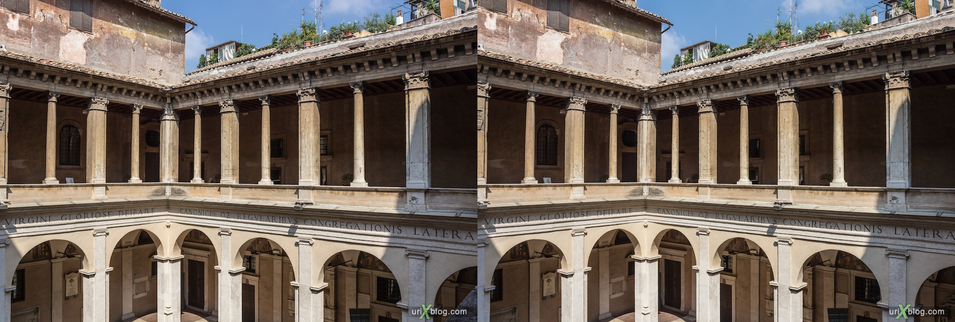 2012, church of Santa Maria della Pace, Rome, Italy, cathedral, monastery, Christianity, Catholicism, 3D, stereo pair, cross-eyed, crossview, cross view stereo pair