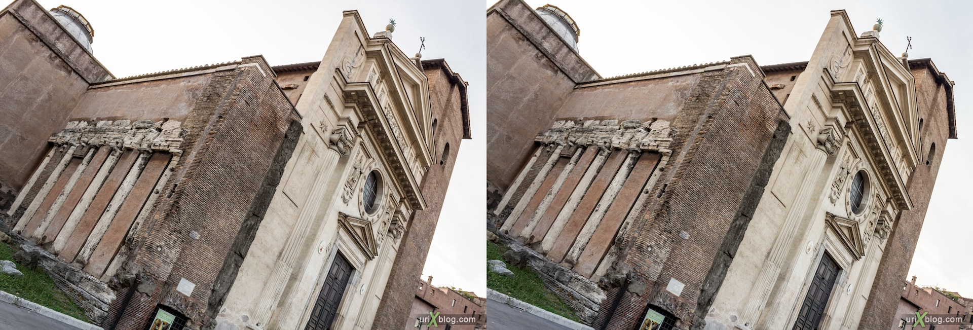 2012, church of San Nicola in Carcere, Rome, Italy, cathedral, monastery, Christianity, Catholicism, 3D, stereo pair, cross-eyed, crossview, cross view stereo pair