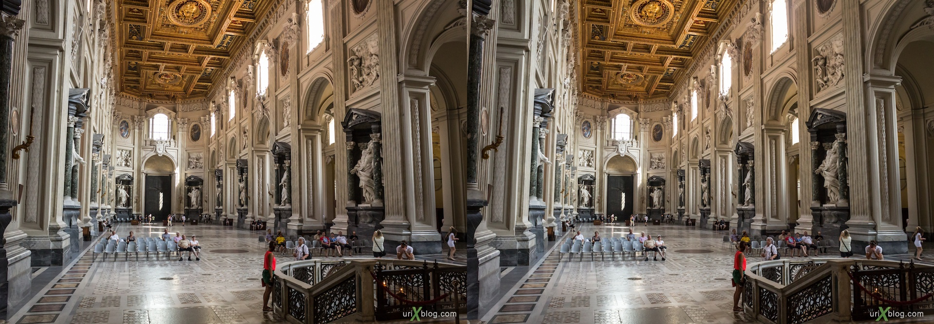 2012, church, basilica of San Giovanni in Laterano, Rome, Italy, cathedral, monastery, Christianity, Catholicism, 3D, stereo pair, cross-eyed, crossview, cross view stereo pair