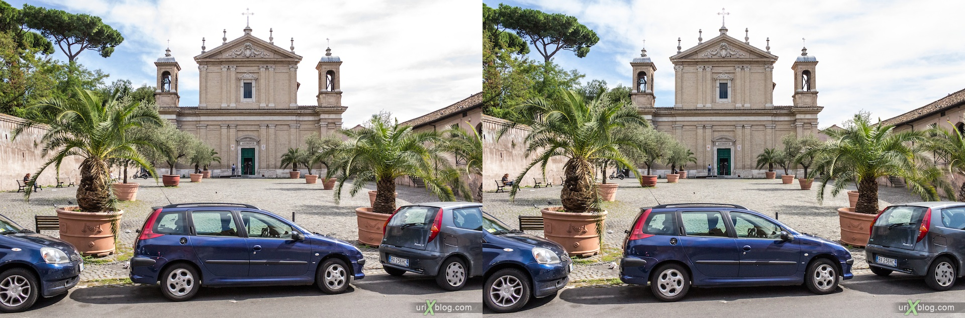 2012, church of Santa Anastasia, Palatine hill, Rome, Italy, cathedral, monastery, Christianity, Catholicism, 3D, stereo pair, cross-eyed, crossview, cross view stereo pair