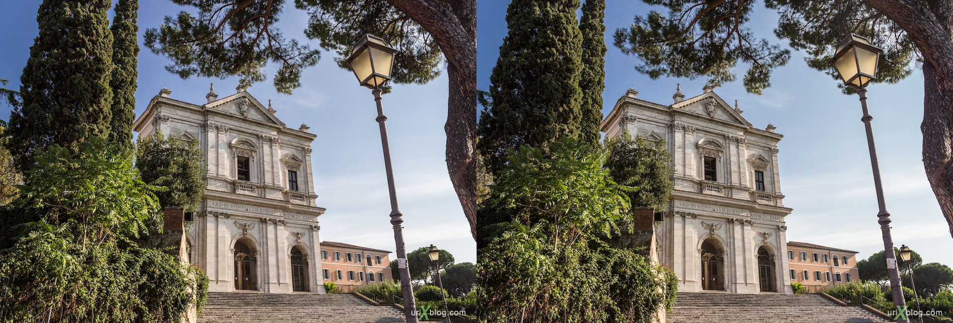 2012, church of San Gregorio Magno (Celio), Rome, Italy, cathedral, monastery, Christianity, Catholicism, 3D, stereo pair, cross-eyed, crossview, cross view stereo pair