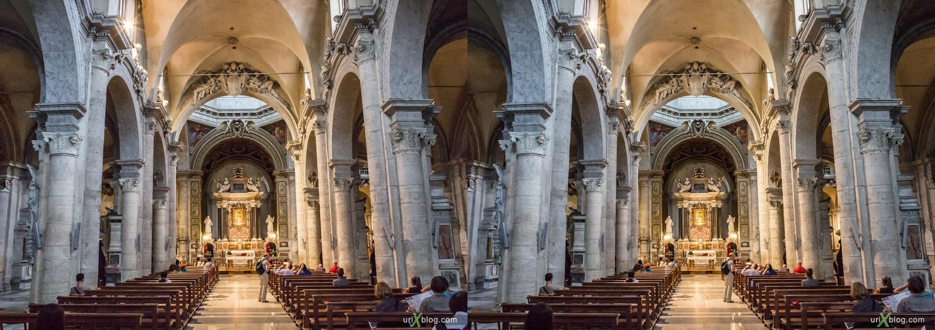 2012, church, basilica di Santa Maria del Popolo, Rome, Italy, cathedral, monastery, Christianity, Catholicism, 3D, stereo pair, cross-eyed, crossview, cross view stereo pair