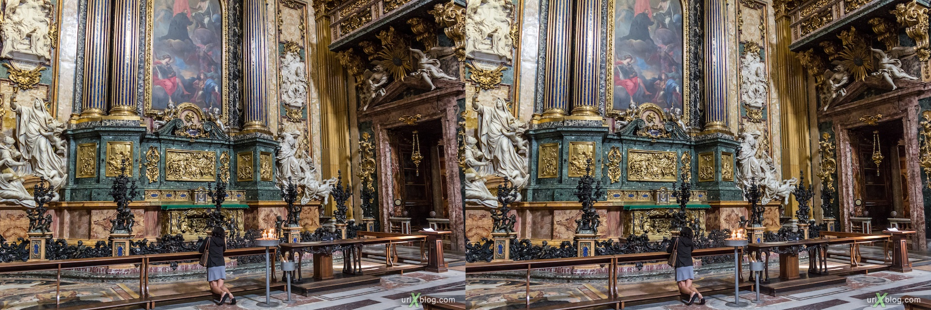 2012, church of the Gesù, Rome, Italy, cathedral, monastery, Christianity, Catholicism, 3D, stereo pair, cross-eyed, crossview, cross view stereo pair