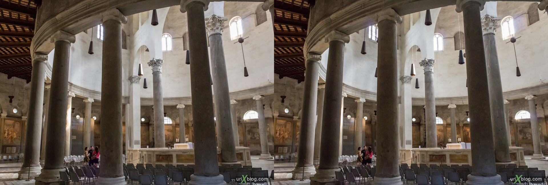 2012, church, Rome, Italy, cathedral, monastery, Christianity, Catholicism, 3D, stereo pair, cross-eyed, crossview, cross view stereo pair