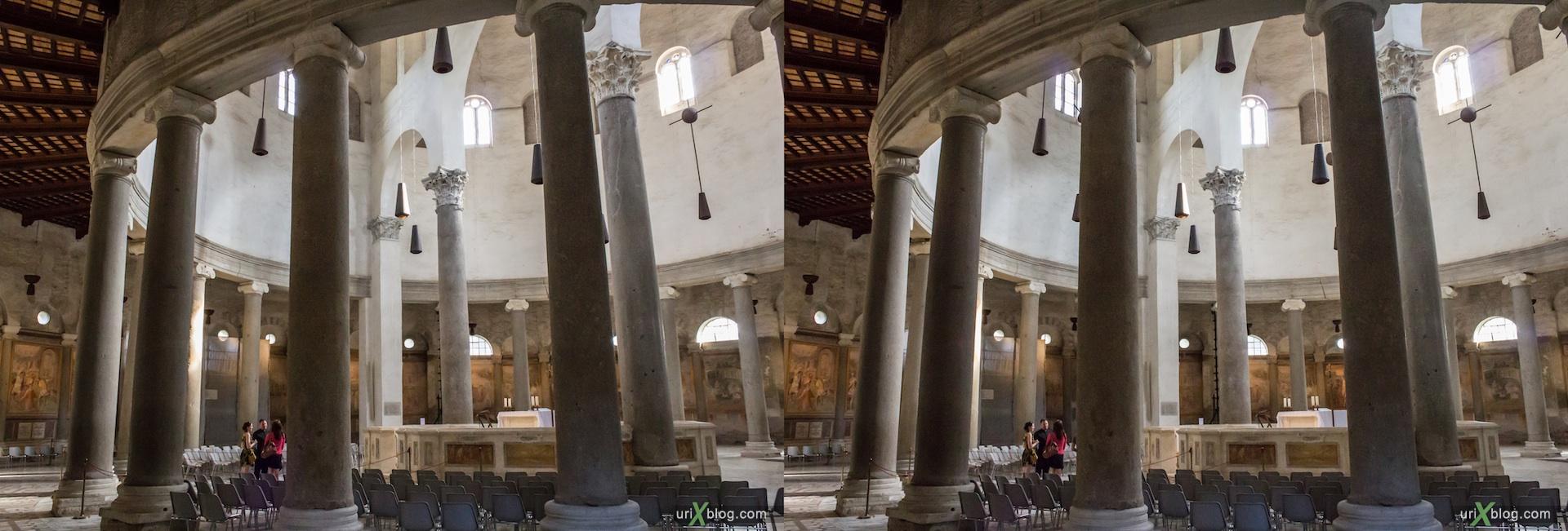 2012, церковь Санто-Стефано-Ротондо, собор, христианство, католичество, Рим, Италия, осень, 3D, перекрёстные стереопары, стерео, стереопара, стереопары