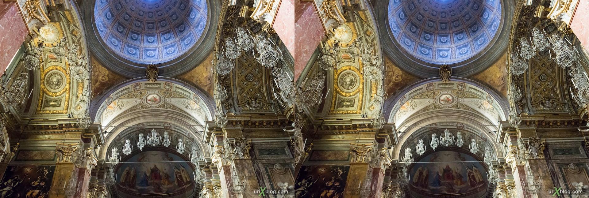 2012, церковь Sant'Egidio, собор, христианство, католичество, Рим, Италия, осень, 3D, перекрёстные стереопары, стерео, стереопара, стереопары