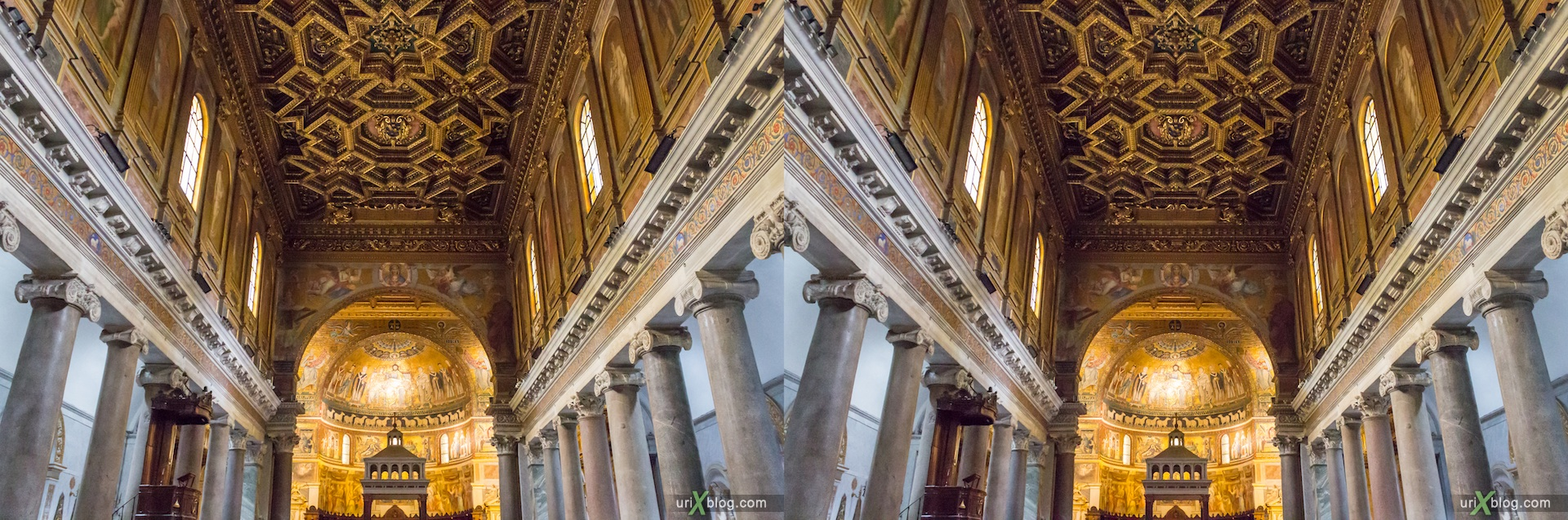 2012, церковь Санта-Мария-ин-Трастевере, собор, христианство, католичество, Рим, Италия, осень, 3D, перекрёстные стереопары, стерео, стереопара, стереопары