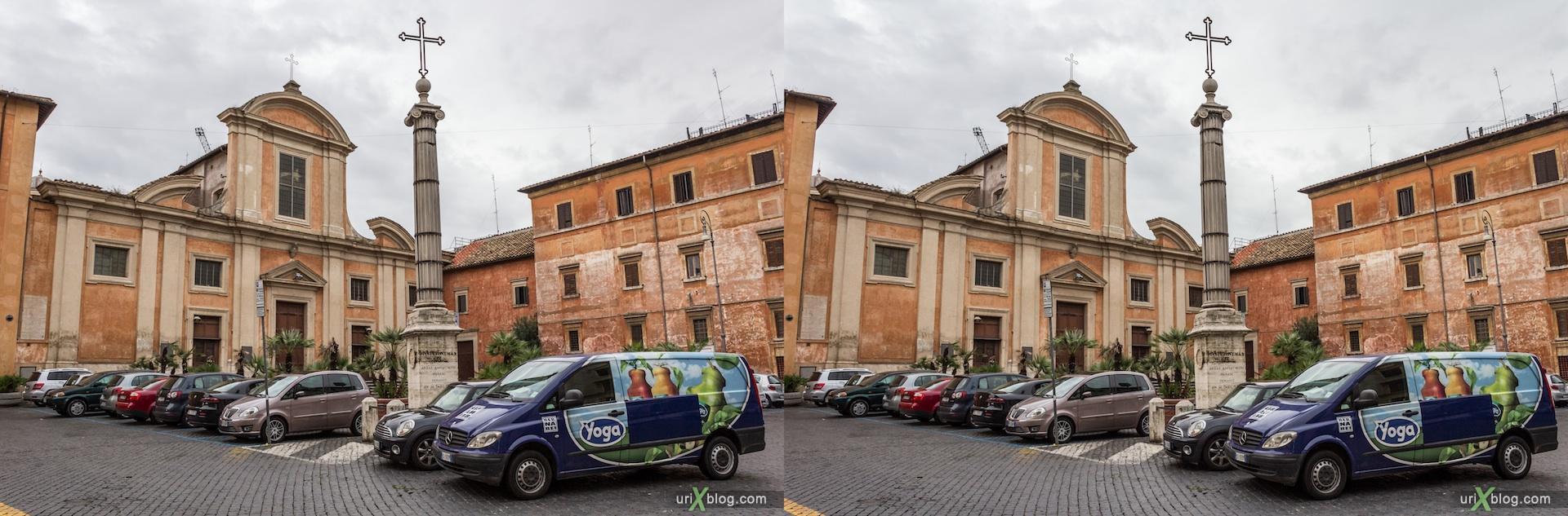 2012, церковь Сан-Франческо-а-Рипа, собор, христианство, католичество, Рим, Италия, осень, 3D, перекрёстные стереопары, стерео, стереопара, стереопары