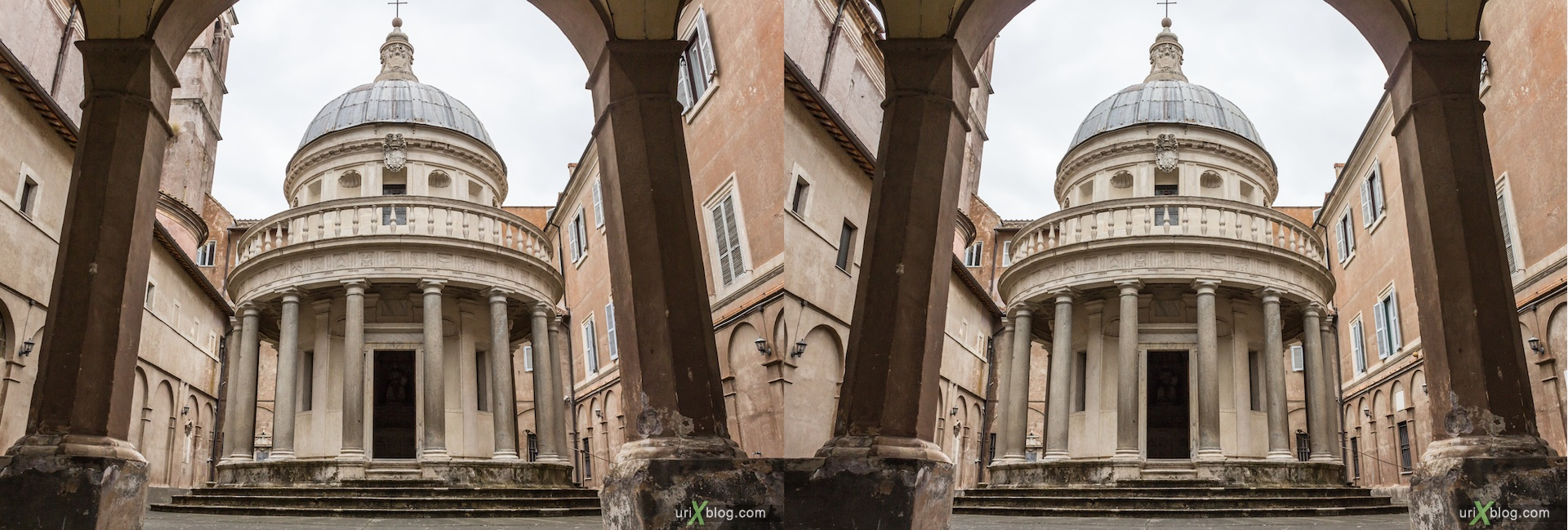 2012, Tempietto of San Pietro in Montorio, Rome, Italy, cathedral, monastery, Christianity, Catholicism, 3D, stereo pair, cross-eyed, crossview, cross view stereo pair