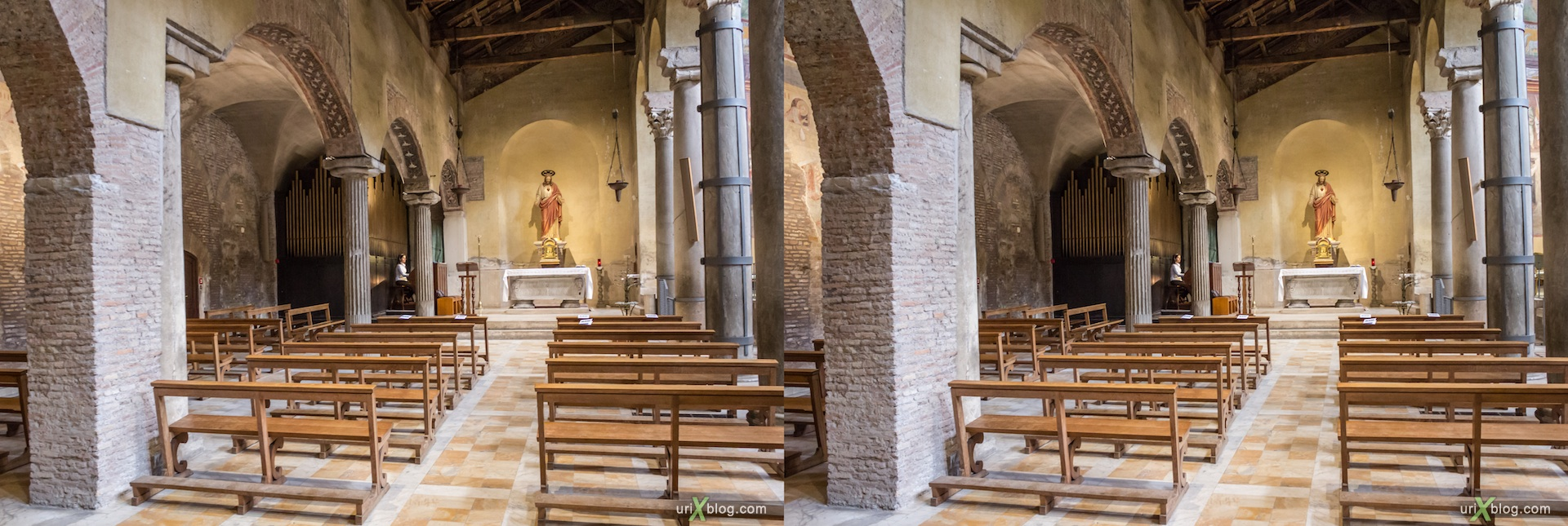 2012, basilica di San Saba, church, Rome, Italy, cathedral, monastery, Christianity, Catholicism, 3D, stereo pair, cross-eyed, crossview, cross view stereo pair