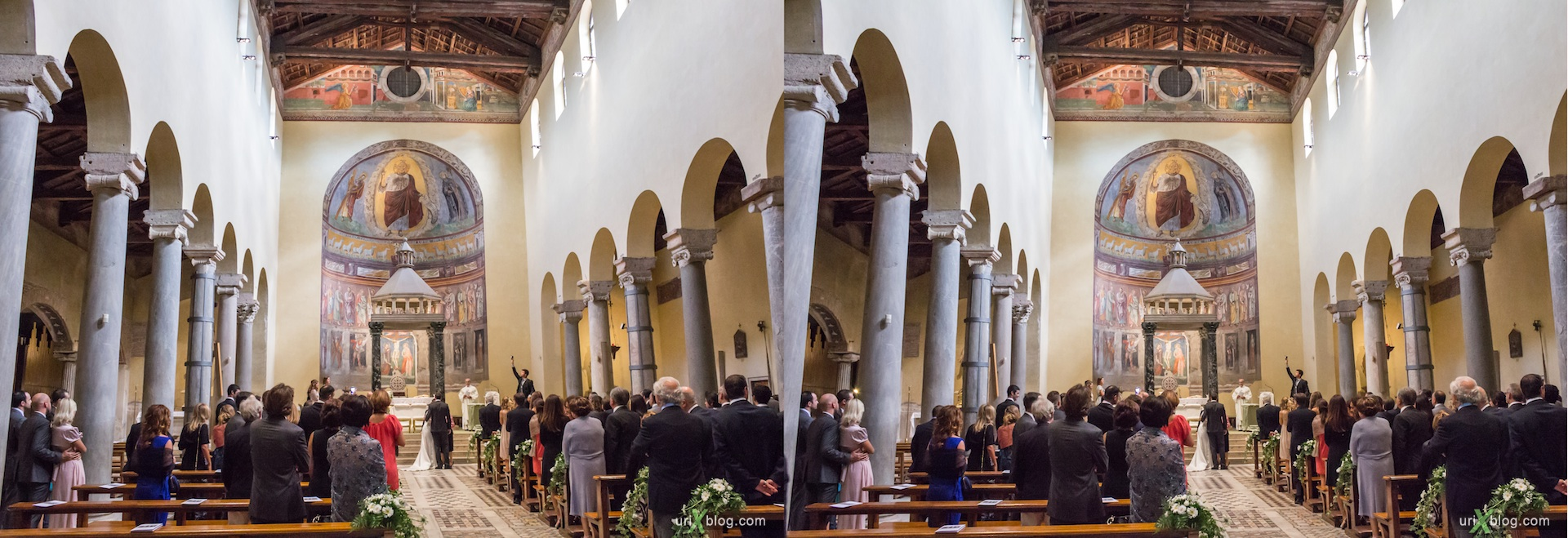 2012, wedding, basilica di San Saba, church, Rome, Italy, cathedral, monastery, Christianity, Catholicism, 3D, stereo pair, cross-eyed, crossview, cross view stereo pair