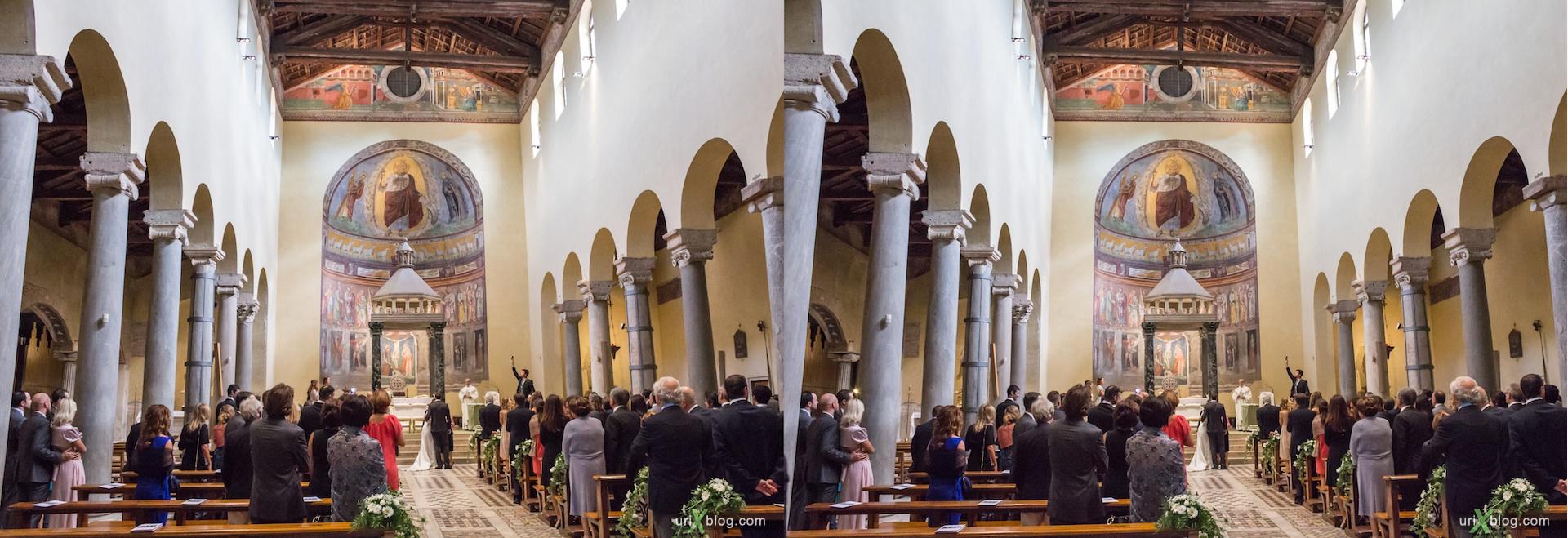 2012, свадьба, церковь di San Saba, собор, христианство, католичество, Рим, Италия, осень, 3D, перекрёстные стереопары, стерео, стереопара, стереопары