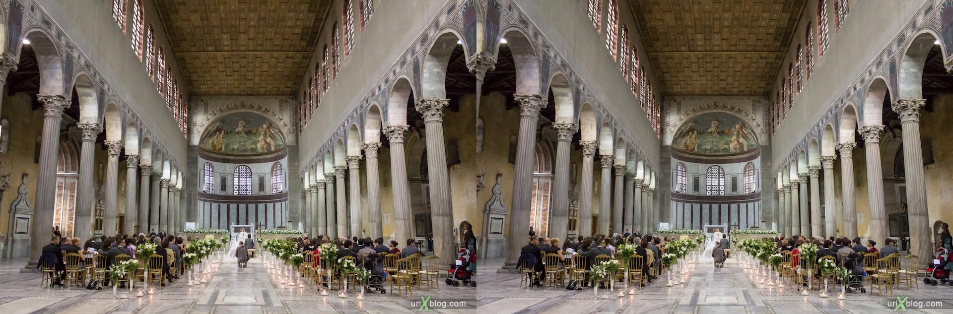 2012, свадьба, церковь Санта Сабина, собор, христианство, католичество, Рим, Италия, осень, 3D, перекрёстные стереопары, стерео, стереопара, стереопары