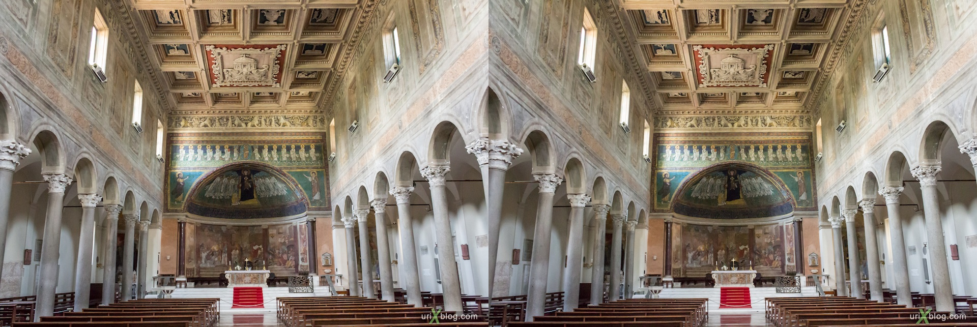 2012, church of Santa Maria in Domnica alla Navicella, Rome, Italy, cathedral, monastery, Christianity, Catholicism, 3D, stereo pair, cross-eyed, crossview, cross view stereo pair
