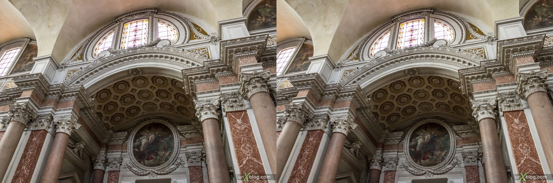 2012, Santa Maria degli Angeli church, Rome, Italy, cathedral, monastery, Christianity, Catholicism, 3D, stereo pair, cross-eyed, crossview, cross view stereo pair