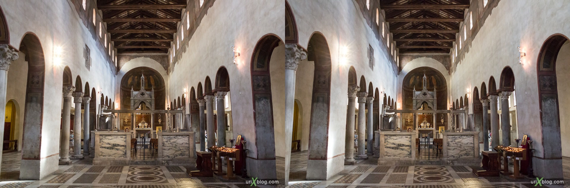 2012, church of Santa Maria in Cosmedin, Rome, Italy, cathedral, monastery, Christianity, Catholicism, 3D, stereo pair, cross-eyed, crossview, cross view stereo pair