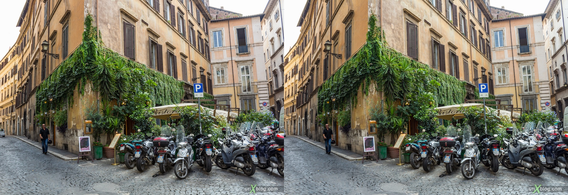 2012, via di Santa Chiara, via Monterone, Рим, Италия, осень, 3D, перекрёстные стереопары, стерео, стереопара, стереопары