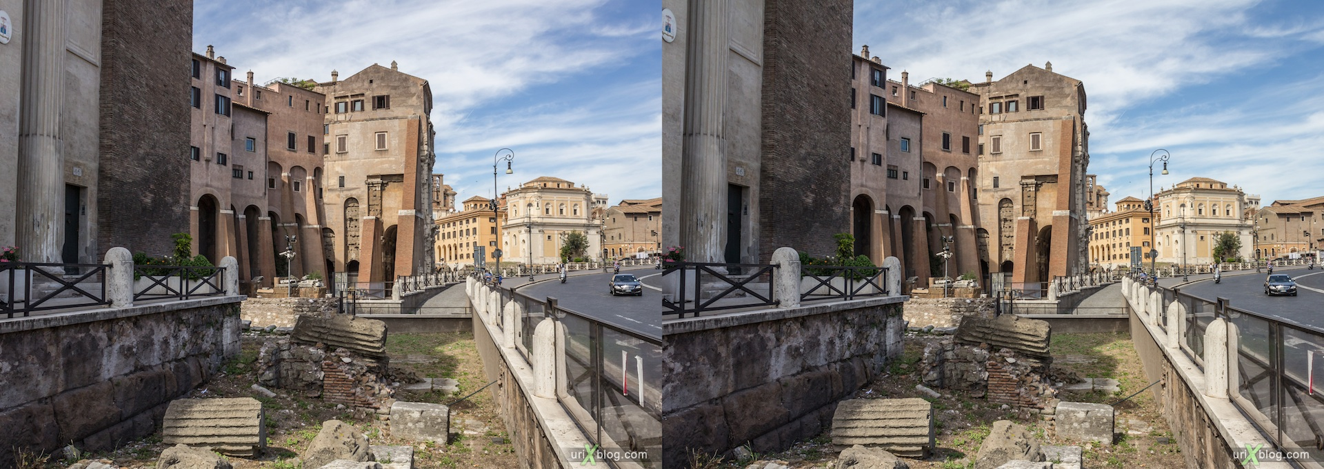 2012, Via del Teatro di Marcello, churh of San Nicola in Carcere, Рим, Италия, осень, 3D, перекрёстные стереопары, стерео, стереопара, стереопары
