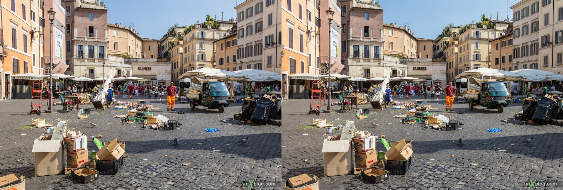 2012, Campo De Fiori square, 3D, stereo pair, cross-eyed, crossview, cross view stereo pair