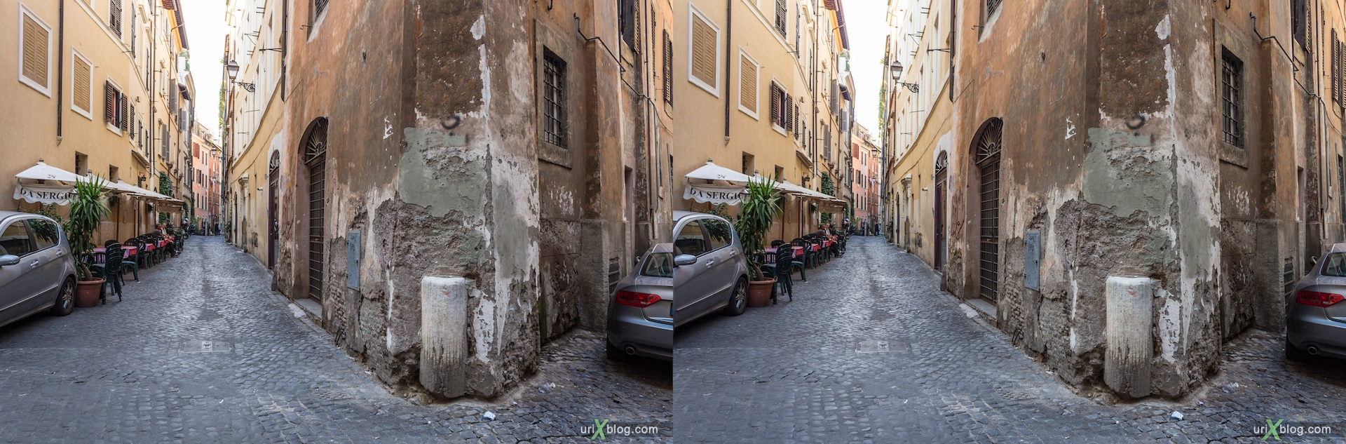 2012, vicolo delle Grotte alley, street, 3D, stereo pair, cross-eyed, crossview, cross view stereo pair
