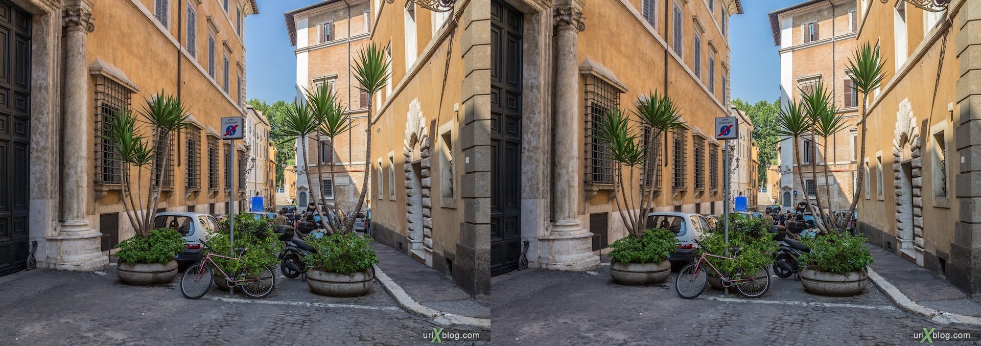 2012, via Lancellotti street, piazzetta di San Simeone square, 3D, stereo pair, cross-eyed, crossview, cross view stereo pair