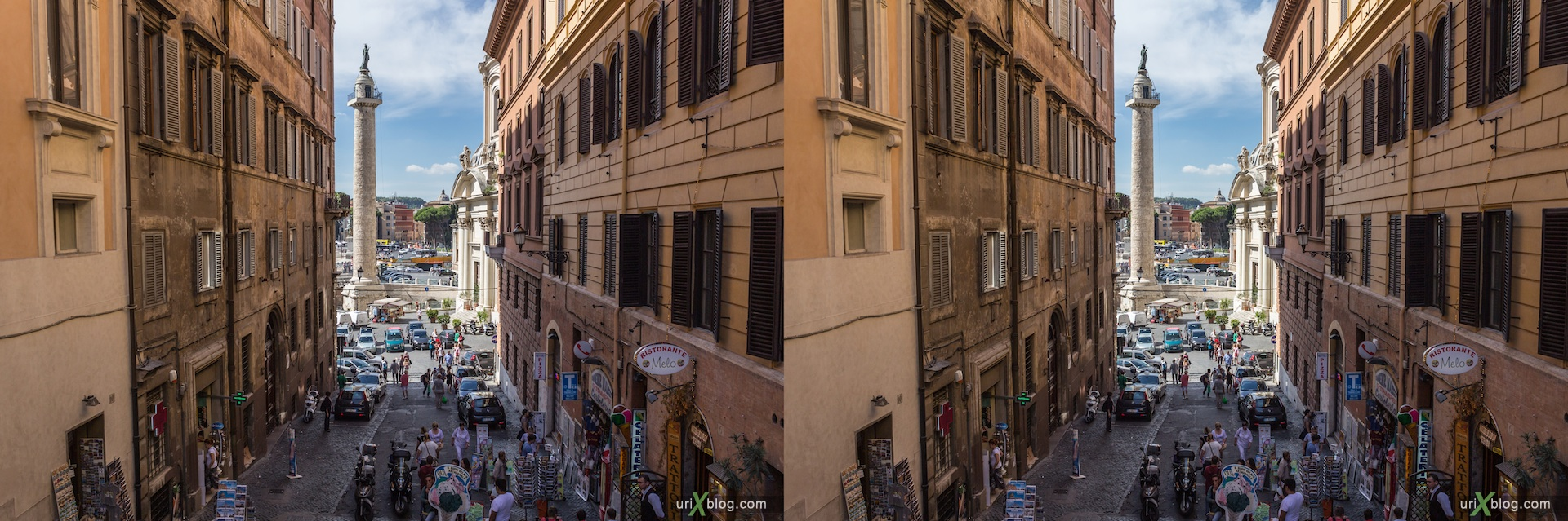 2012, Via Magnanapoli street, stairs, Trajan column, 3D, stereo pair, cross-eyed, crossview, cross view stereo pair