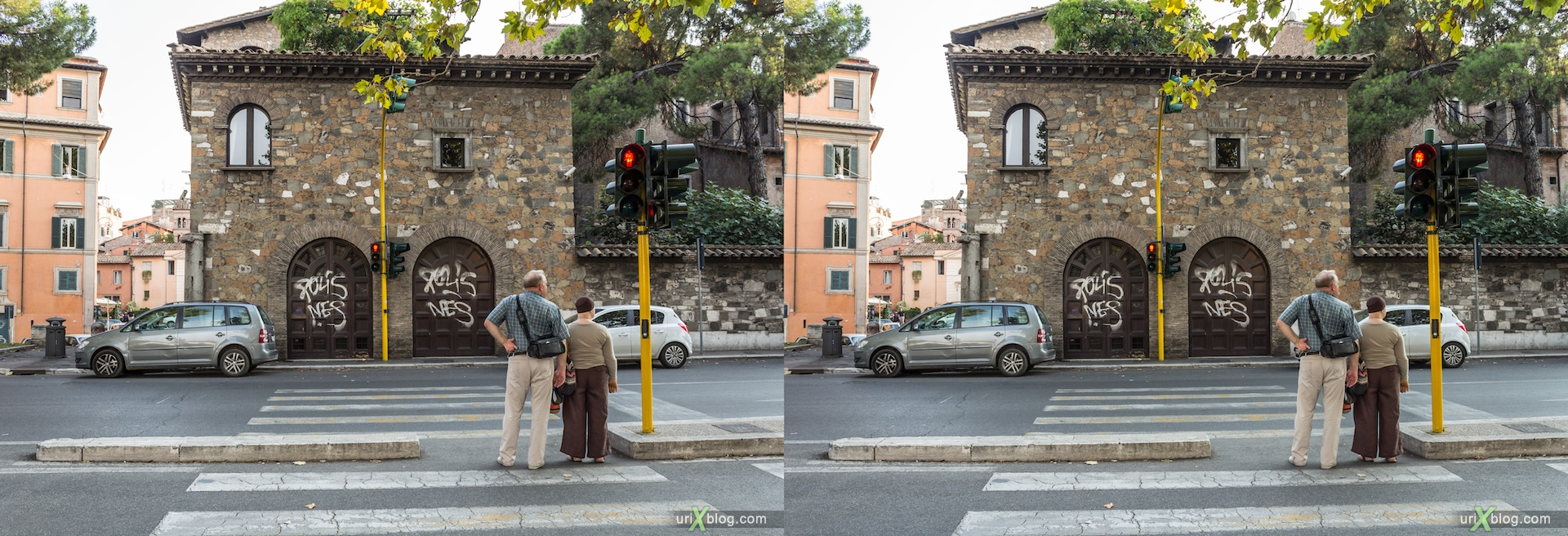 2012, Lungotevere Raffaello Sanzio street, Ponte Garibaldi bridge, crosswalk, 3D, stereo pair, cross-eyed, crossview, cross view stereo pair